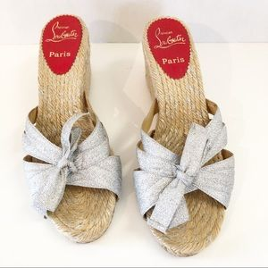 Christian Louboutin silver espadrille wedges